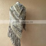 Blanket Scarf Style of Warm Shawl, Large Shawl, Beige Shawl Hand Knit for Women with Black, Ivory Off White, Taupe Shawl, Fring