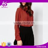 2016 Guangzhou Shandao OEM/ODM Autumn Fashion Model Women Long Sleeve Wine Red Chiffon Blouse Back Neck Design
