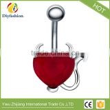 Plastic Heart shape CZ navel ring made in China