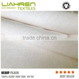 Best selling natural healthy 100%hemp NM36*NM36 130gsm woven plain fabric