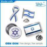 Collectible Pressed Iron Imitational Silver Soft Enamel Ribbon Badge Israel Butterfly Pins