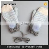100% cotton knitted mittens for kids children winter fur pompom gloves