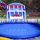 Kids Outdoor Coconut Tree Water Play Equipment Coconut Palm Inflatable Water Slide With Pool in water play equipment