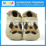 Soft Sole Baby Genuine Leather Shoes Beige Color With Puppy Dog Pattern ,Baby Cow Leather Slippers Size 0-4 Years