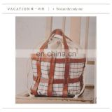 Eco friendly leather cotton tote bag