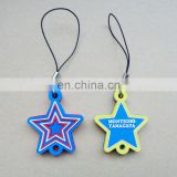 Custom five-pointed shape soft pvc material mobile phone strap accessory with special logo