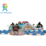 PVC tarpaulin material Inflatable iceberg park water park with inlatable pool and inflatable slip n slide