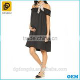 Fashion black pleated cold shoulder maternity dresses