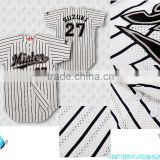 stylsh sublimation custom made full button striped Baseball Jersey with good quality mesh fabric
