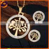 Stainless steel round tree bride jewelry set                                                                         Quality Choice