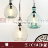 CASAMOTION Vintage Globe Clear Hand Blown Art Glass Pendant Light Ceiling Lamp                                                                         Quality Choice