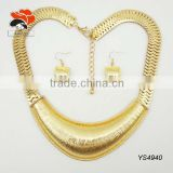 fashion gold indian jewelry set pave chunky chain luxury collarbone necklace metal earrings