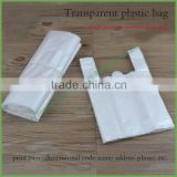 Chinese Manufacturer Bottom Gusset Transparent with vest Handle Plastic Bag for Take Out Food