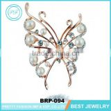 Wholesale gold metal crystal woman hellow butterfly brooch for valentine gift
