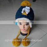 High Quality Pom Pom Cheap Custom beanie hat / knit hat / free knit pattern for hat earflaps