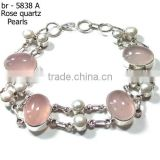 silver jewelry for girls pearl jewelry rose quartz bracelet 925 sterling bracelet silver wholesale jewelry