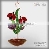MX010007 metal bird feeder with ladybug flower stained glass craft decoration