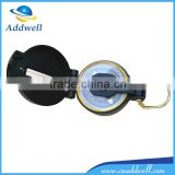 Black lensatic magnetic compass with magnifier