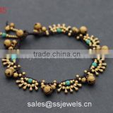 Fascinating water drop brass bead bracelets with smart turquoise beads fashion jewelry wholesale