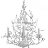 WHITE WROUGHT IRON CHANDELIER/ CHANDELIERS LIGHTING FACETED CRYSTAL LEAVES