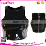 2015 Wholesale sexy women black leather vest