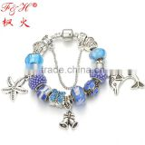Luxury Silver Charm Bracelet For Women With High Quality European Style Murano Glass Bead