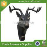 Deer Head 9.5 in. H x 8 in. W Resin Black Wall Hook Home Decor