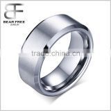 8mm Silver Beveled Tungsten Carbide Rings with Matte Center Men's Comfort Fit Wedding Bands Unique for Women