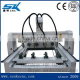 4 heads 4 spindles 4 axis gunstock wood carving machine with rotary