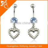 Charming Heart Shaped Vibrating Dangle Stainless Steel Belly Button Piercing Body Jewelry Navel Rings