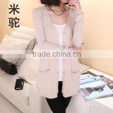 The new spring and autumn period long pure cashmere cardigan sweater knit cardigan whom big yards loose v-neck cardigan sweater