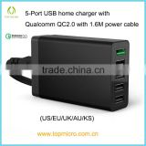 Wholesales 6/8A US/EU/UK/AU/KS Socket with Qualcomm QC2.0 Multi Port USB Station Wall Charger