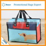 Cartoon Pictures Printing Foldable Recyclable PP woven Woven Shopping travel Bag women handbags