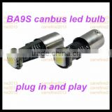 led car interior light 12v 1smd ba9s canbus error free xenon lamp ba9s smd 5050 led bulb ring light