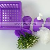 Fantasy collection purple 6pcs Plastic Bathroom Square Shower Caddy With Shrinking Packing