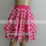 Latest St Patrick's Day bright pink quatrefoil printed girl skirt