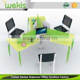 2016 unique design modern steel frame colorful melamine table top 120 degree 3 person office workstation for office furniture