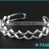 Micro Pave Zircon Water Waves Real Sterling Silver Bangles