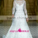 R13626 2013 Barcelona summer long sleeve guangzou lacewedding dress
