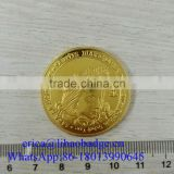 Commemorative double sided stamping engraving zinc alloy gold metal cheap custom us bit challenge coin