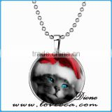 Christmas gifts xmas christmas necklace kitty with hat gemstone necklace