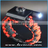 Outdoor Emergency First Aid Tool Kit Thermometer Firestarter Buckle Paracord Bracelet with LED Light
