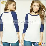 Ecoach white blue 96%cotton 4%Elastane 3/4 sleeves Slub Knit baseball tee shirts wholesale for women