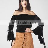 2017 Spring new arrival sexy off shoulders ladies black top