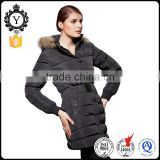 COUTUDI brand name wholesale factory price black fur hooded stock ladies long fancy jacket