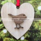 Lovely Christmas Hanging Decoration Heart Bird Layer Wood Crafts