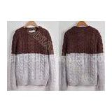 Full Chunky Mens Cable Knit Sweaters in Crew Neck with Coffe Grey Stripes , Two Tone