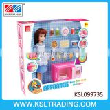 Hot sale toys plastic girl doll with microwave oven set for kids