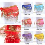 Bestdance 3 Rows Belly Dance Hip Skirt Scarf Wrap Belt Hip scarf Gold sequins Goin Coins