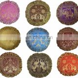 "Indian banarsi Silk Brocade Elephant Round Pillow Cover , 17"" Handmade Banarsi Cushion Cover Throw Decorative Pillow Case"